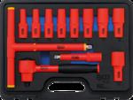 Bgs Technic VDE-dopsleutelset aandrijving 10 mm (3/8) SW 7 - 22 mm 12-dlg