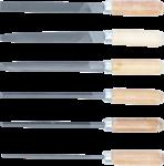 Sleutlvijlen-set houten heft 100 mm 6-dlg