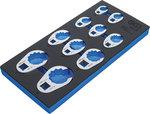 Gereedschapmodule 1/3: Kraaienpootsleutelset 10 mm (3/8) / 12,5 mm (1/2) / 20 mm (3/4) 10-dlg