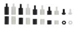 Bgs Technic Afstandhouderschroeven en assortiment zeskantmoeren Nylon 300-delig