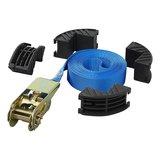 Spanband blauw met ratel en randbeschermers 5 meter_