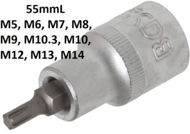 Bgs Technic 1/2 bit dop, ribe r5 x 55 mm