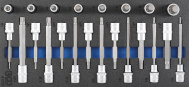 Bgs Technic Tool Tray 1/3: Bit Socket Set | 12.5 mm (1/2) | Spline (for XZN) | 22 delig