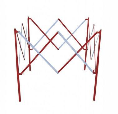 Metalen vierkant schaarhek Rood/wit