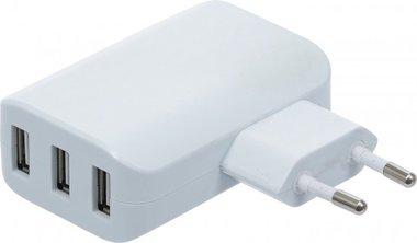 Universele USB-oplader 3 USB-poorten max 3,4 A totaal max 2,4 A/ USB 110 - 240 V