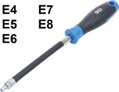 Flexibele schroevendraaier met rond handvat E-profiel
