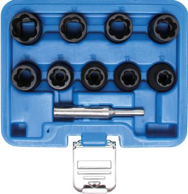 Spiraalprofiel-dopsleutelset / schroefuitdraaier 1/2, 10 - 19mm 10-dlg