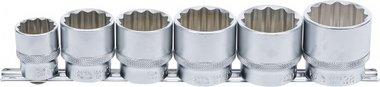 Dopsleutelset, twaalfkant 12,5 mm (1/2) 24 - 38 mm 6-dlg