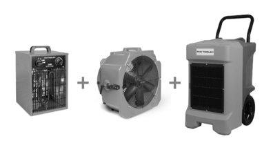 Pack BDE95 bouwdroger + MV500PPL ventilator + WEL33 warmeluchtblazer