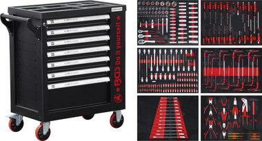 Gereedschapwagen 1 zijdeur 7 laden met 250 gereedschappen