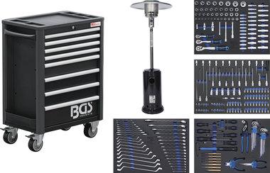 Gereedschapwagen Profi Exclusive 8 laden met 259 gereedschappen + 1 Gasverwarming-paddestoel