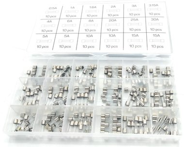 Assortiment Glaszekeringen 0,5A- 15A 180 stuks