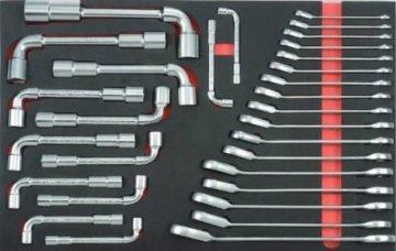 Haakse moersleutel & omkeerbare tandwielsleutelset (EVA) 30-delige
