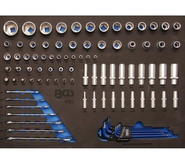 Bgs Technic 3/3 Gereedschap module 90-delig dopsleutels en combinatie sleutel