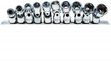 Bgs Technic Cardan dopsleutelset zeskant 10 mm (3/8) 10 - 19 mm 10-delig