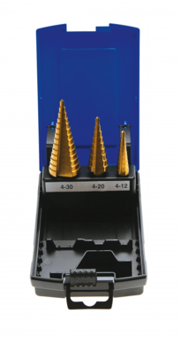 Stappenboor, titanium, 4-30mm 3-delig