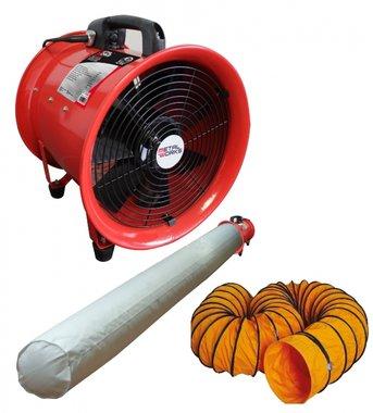 Ventilator 300mm - 500w met afvoerslang en filterzak