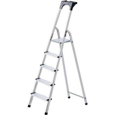 Huishoudladder aluminium met gereedschapsbak 6 sporten Platformhoogte 1,19m
