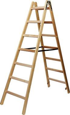 Houten ladder 2x7 sporten Hoogte bok ladder 1,84m