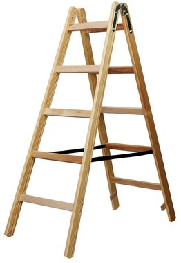 Houten ladder 2x5 sporten Hoogte bok ladder 1,32m