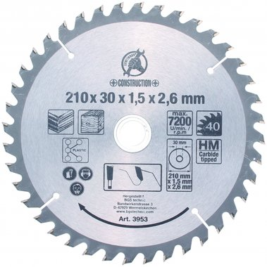 Bgs Technic Hardmetalen cirkelzaag Blade, dia 210 mm