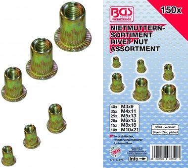Bgs Technic 150-delige Rivet Nuts assortiment, gegalvaniseerd staal