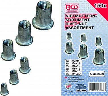 Bgs Technic 150-delige Rivet Nuts assortiment, aluminium