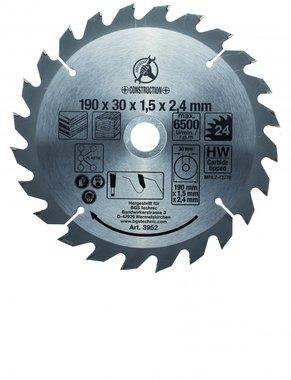 Bgs Technic Hardmetalen cirkelzaagblad, diameter 190 mm, 24 tand
