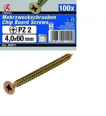 Multi purpose schroeven 4.0 x 60 mm, 100 stuks