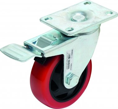 Bgs Technic Castor met Brake, rood / zwart, 100 mm