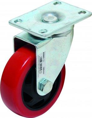 Bgs Technic Castor, rood / zwart, 100 mm