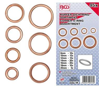 Bgs Technic 95-delige Copper O-Ring assortiment, diameter 6-20 mm