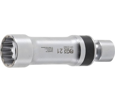 Bgs Technic Universele knie bougie dop, 21 mm, 12-pt, met houderveer