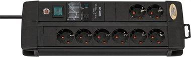 Premium-Line 30.000 A stekkerdoos met overspanningsbeveiliging 8-voudig Duo zwart 3m