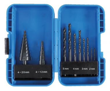 Bgs Technic Spiraalboren en trappenboorset HSS  4 - 12 / 4 - 20 mm 2 - 5 mm 10-delig