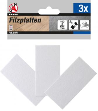 Viltglijder platen wit 100 x 200 mm 3-delig