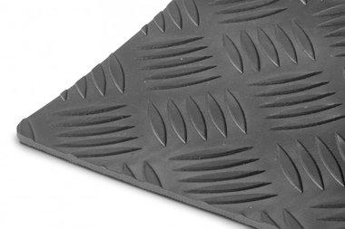 Rubber per lopende meter 1mx1200mmx3mm traanplaat zwart