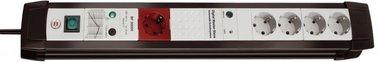 Premium-Line overspanningsbeveiliging 5-voudig zwart/lichtgrijs 3 m