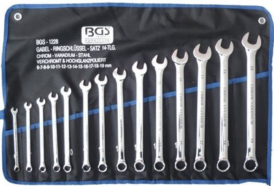 Bgs Technic Ring-steeksleutelset XL, 14 delig extra lang