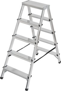 Dubbele trapladder aluminium 2x5 sporten Hoogte bok ladder 1,04m